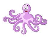 Cute cheerful cartoon octopus — Stock Vector