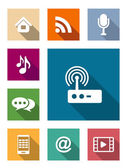 Set of flat media and communication icons — Stockvector