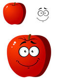 Cartoon smiling happy red apple fruit — Stock Vector