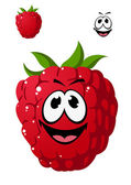 Cartoon ripe red raspberry with a cheeky grin — Stockvector