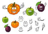 Cartoon pumpkin, plum and apple — Stock Vector