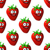 Seamless pattern of a happy ripe red strawberry — Stock Vector