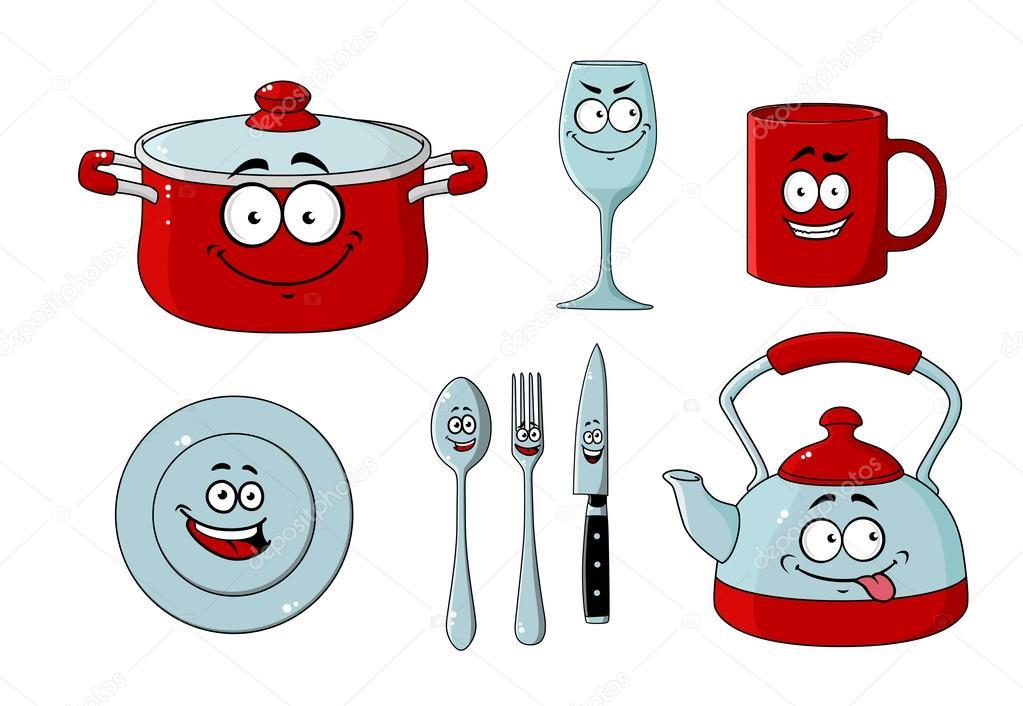 dessin anim ensemble de vaisselle et ustensiles de