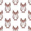 Seamless pattern of a wise old owl — Stock Vector