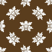 Brown seamless floral pattern with stylized flowers — Stock Vector