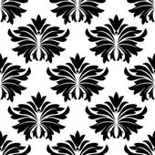 Seamless pattern with big black flowers — Stock Vector