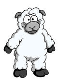 Funny woolly cartoon sheep — Stock Vector