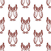 Seamless pattern of a wise old owl — Vecteur