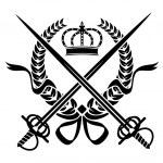 Heraldic design with a wreath, swords and crown — Stock Vector #45947919