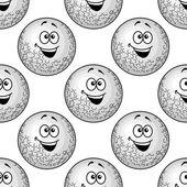 Seamless background pattern of cartoon golf balls — Stock Vector