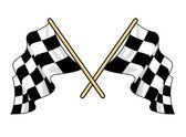Crossed waving motor sport flags — Stock Vector