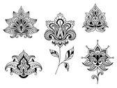 černé a bílé květinové motivy perské paisleys — Stock vektor