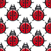 Seamless pattern of a red spotted ladybug — Stock Vector