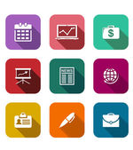 Conjunto de ícones de plano de negócios — Vetor de Stock