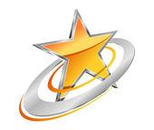 Golden star with circular orbits — Stock Vector