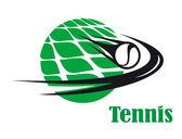 Tennis ball speeding across a net — Stock Vector