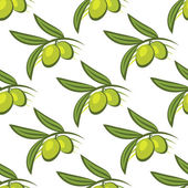 Seamless pattern of fresh green olives on a twig — Stock Vector