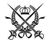Diseño heráldico con una corona de flores, espadas y corona — Vector de stock