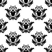 Seamless black and white floral pattern — Stock Vector