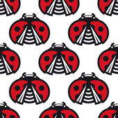 Seamless pattern of little spotted red ladybugs — Stock Vector