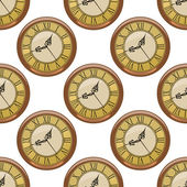 Seamless pattern of vintage clocks — Stock Vector