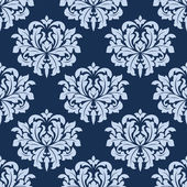 Blauwe naadloze damast patroon — Stockvector
