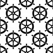 Vintage ships wheel seamless pattern — Stock Vector