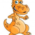 Cute orange cartoon dragon or dinosaur — Stock Vector