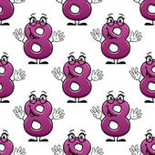 Cute happy waving number 8 seamless pattern — Stock Vector