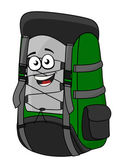Green cartoon rucksack or backpack — Stock Vector