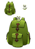 Green rucksack with a cute grin — Stock Vector