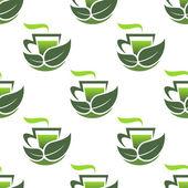 Modèle sans couture de thé bio vert — Vecteur
