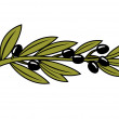 Leafy branch with ripe black olives — Stock Vector