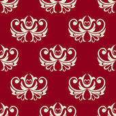 Maroon and white seamless floral pattern — 图库矢量图片