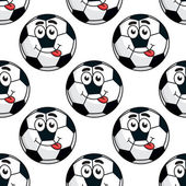 Goofy soccer ball seamless pattern — Stock Vector