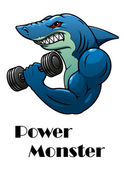 Shark athlete with dumbbells — Stock Vector