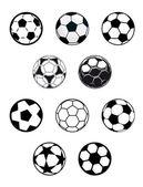 Set of soccer or football balls — Stock Vector