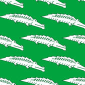 Green crocodile seamless pattern — Stock Vector