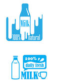 Fresh dairy and 100 percent natural milk labels — Cтоковый вектор