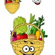 Shopping basket with healthy groceries — Stock Vector #47782473