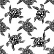 Marine turtles seamless background pattern — Stock Vector