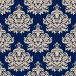 Blue damask seamless pattern with beige flourishes — Stock Vector #47783243