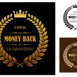 Golden Money back guarantee labels — Stock vektor #47783899