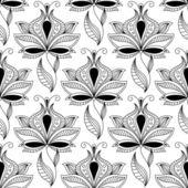 Persian black paisley seamless pattern — Stock Vector