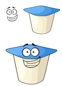Cheeky cartoon yoghurt with a happy smile — Stockvector