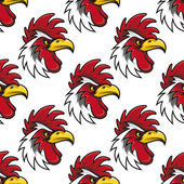 Rooster head seamless background pattern — Stock Vector