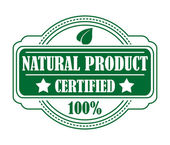 Green colored natural product label — Stock Vector