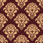 Beige and maroon seamless damask pattern — Stock Vector