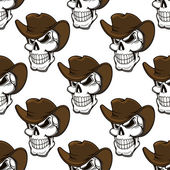 Skull in a stetson seamless pattern — Stock Vector