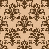 Modern foliate brown and beige arabesque pattern — Vecteur